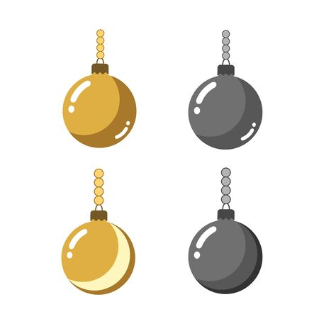 Christmas tree ball icons set. Gray and gold baubles decoration, isolated on white background. Symbol of Happy New Year, Xmas holiday celebration, winter. Flat design for card. Vector illustration Illustration