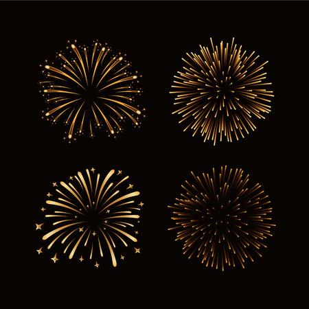 christmas cracker: Fireworks set gold isolated. Beautiful golden fireworks on black background. Bright decoration Christmas card, Happy New Year celebration, anniversary, festival. Flat design Vector illustration