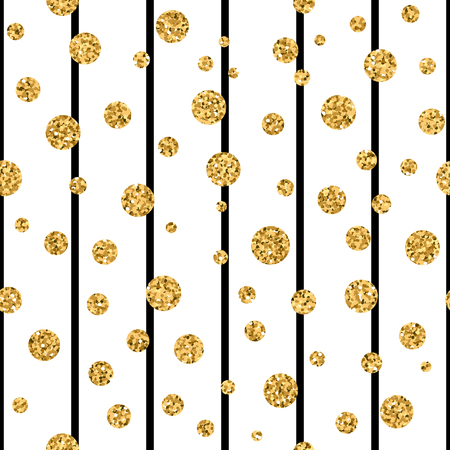 Gold polka dot on lines seamless pattern background. Golden foil confetti. Black and white stripes. Christmas glitter design decoration for card, wallpaper, wrapping, textile. Vector Illustration  イラスト・ベクター素材