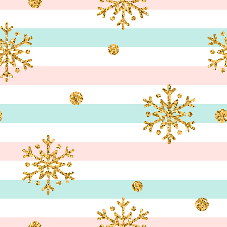 Christmas gold snowflake seamless pattern. Golden polka dots, snowflakes on blue, pink, white lines background. Winter snow design wallpaper. Symbol holiday New Year celebration Vector illustration Illustration