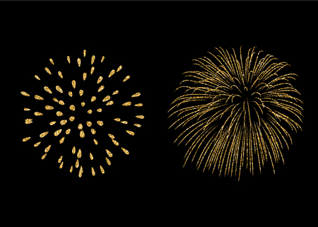 Fireworks set gold isolated. Beautiful golden fireworks on black background. Bright decoration Christmas card, Happy New Year celebration, anniversary, festival. Flat design Vector illustration