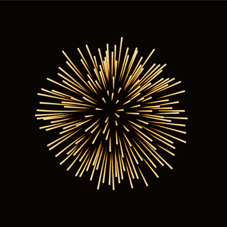 fire crackers: Firework gold isolated. Beautiful golden firework on black background. Bright decoration for Christmas card, Happy New Year celebration, anniversary, festival. Flat design illustration