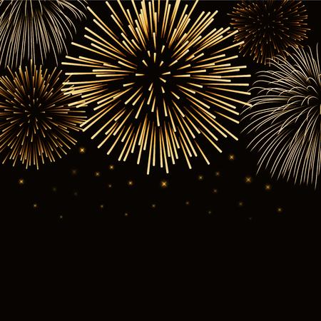 Firework gold bursting sparkle background card. Golden night fire, beautiful explosion for celebration, holiday, Christmas, New Year, birthday. Symbol festive, anniversary. illustration