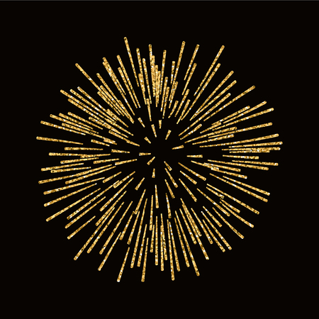 Firework gold isolated. Beautiful golden firework on black background. Bright decoration for Christmas card, Happy New Year celebration, anniversary, festival. Flat design illustration