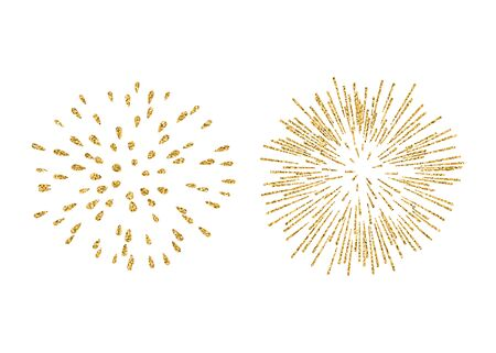 Fireworks set gold isolated. Beautiful golden fireworks on white background. Bright decoration Christmas card, Happy New Year celebration, anniversary, festival. Flat design illustration