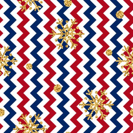 Christmas gold snowflake seamless pattern. Golden glitter snowflakes on red, blue, white zig zag background. Winter snow design wallpaper. Symbol holiday, New Year celebration illustration Stock Photo