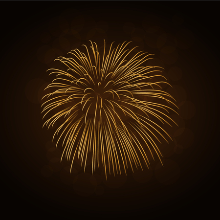 Firework gold isolated. Beautiful golden firework on black background. Bright decoration for Christmas card, Happy New Year celebration, anniversary, festival. Flat design Vector illustration