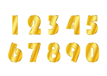 gold numbers: Gold numbers set. Golden metallic font, isolated on white background. Beautiful typography metal design for decoration. Symbol elegance royal graphic. Modern fashion signs. Vector illustration