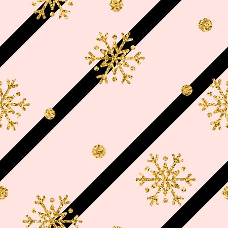 Christmas gold snowflake seamless pattern. Golden glitter snowflakes on pink and black diagonal lines background. Winter snow design wallpaper. Symbol holiday, New Year celebration Vector illustration