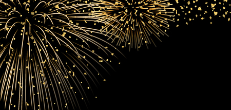 Gold bright firework, confetti on black Christmas background. Golden decoration abstract design Happy New Year card, greeting, Xmas holiday celebrate, invitation. Space effect Vector illustration Stock Illustratie