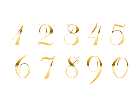 Gold numbers set. Golden metallic font, isolated on white background. Beautiful typography metal design for decoration. Symbol elegance royal graphic. Modern fashion signs. Vector illustration