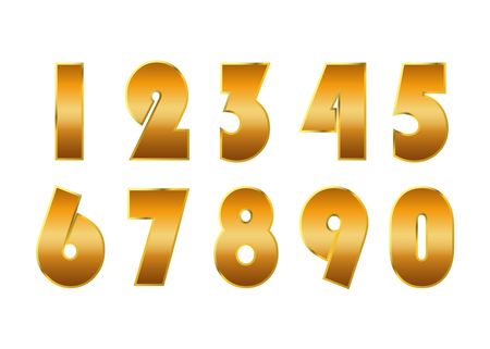 5.0: Gold numbers set. Golden metallic font, isolated on white background. Beautiful typography metal design for decoration. Symbol elegance royal graphic. Modern fashion signs. Vector illustration