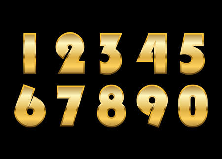 gold numbers: Gold numbers set. Golden metallic font, isolated on black background. Beautiful typography metal design for decoration. Symbol elegance royal graphic. Modern fashion signs. Vector illustration