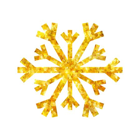 Gold Christmas snowflake icon. Golden fire silhouette snow flake sign isolated white background. Elegant design card, decoration. Symbol winter, New Year holiday celebration Vector illustration