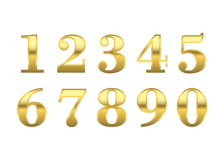 numbers background: Gold 3d metallic numbers set. Golden metal texture font, isolated on white background. Luxury type symbols. Elegant typography graphic. Bright royal style typeset decoration. Vector illustration Illustration