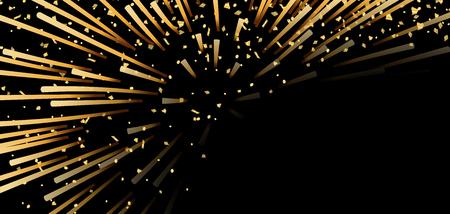 Gold bright firework, confetti on black Christmas background. Golden decoration abstract design Happy New Year card, greeting, Xmas holiday celebrate, invitation. Space effect Vector illustration Illusztráció