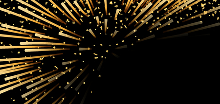 Gold bright firework, confetti on black Christmas background. Golden decoration abstract design Happy New Year card, greeting, Xmas holiday celebrate, invitation. Space effect Vector illustration Illustration