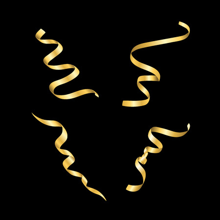 serpentines: Gold streamers set. Golden serpentine confetti ribbons, isolated on black background. Decoration for party, birthday celebrate, Christmas carnival, New Year gift. Festival decor. Vector illustration