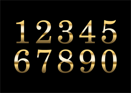 Gold numbers set. Golden metallic font, isolated on black background. Beautiful typography metal design for decoration. Symbol elegance royal graphic. Modern fashion signs. Vector illustration