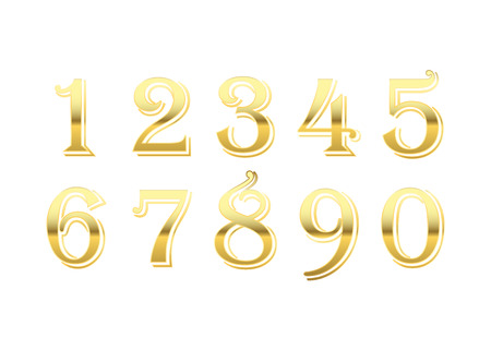 Gold 3d metallic numbers set. Golden metal texture font, isolated on white background. Luxury type symbols. Elegant typography graphic. Bright royal style typeset decoration. Vector illustration Illustration