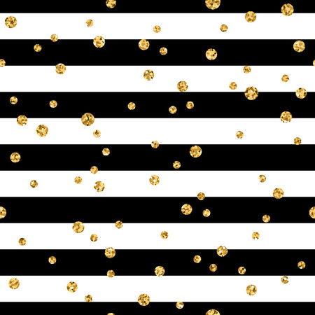 Gold polka dot on lines seamless pattern background. Golden foil confetti. Black and white stripes. Christmas glitter design decoration for card, wallpaper, wrapping, textile. Vector Illustration Çizim