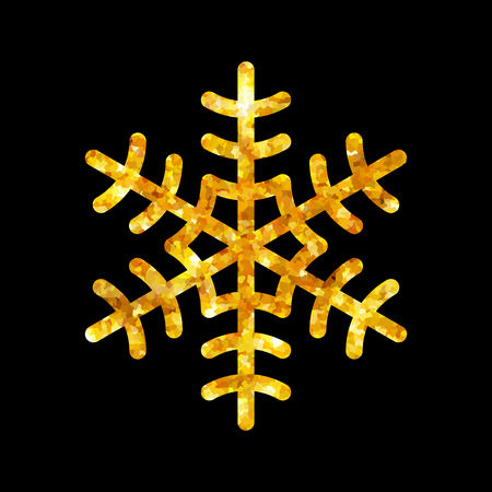 black star: Gold Christmas snowflake icon. Golden fire silhouette snow flake sign isolated black background. Elegant design card, decoration. Symbol winter, New Year holiday celebration Vector illustration