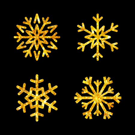 Gold Christmas snowflakes icons set. Golden fire silhouette snow flake sign isolated black background. Design card, decoration. Symbol winter, New Year holiday celebration Vector illustration