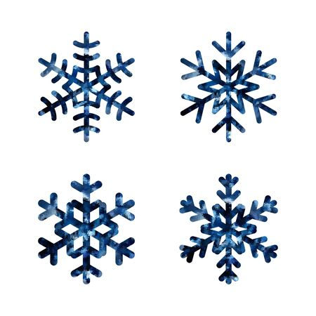 lightweight ornaments: Snowflake mosaic icons set. Black silhouette snowflakes signs, isolated on white background. Symbol of winter, snow, Christmas, New Year holiday. Graphic element decoration Vector illustration