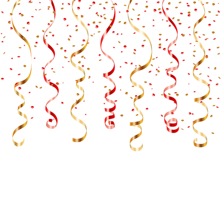 streamers: Gold red ribbon confetti. Golden serpentine on white background. Colorful streamers. Design decoration party, birthday, Christmas, New Year celebration, carnival Vector illustration