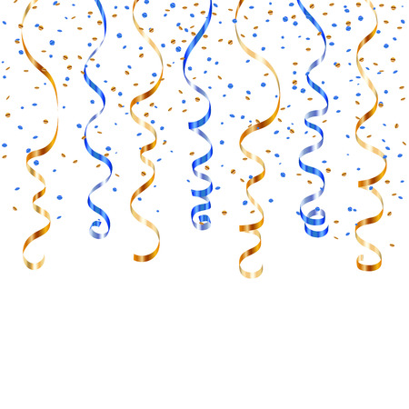 Gold blue ribbon confetti. Golden serpentine on white background. Colorful streamers. Design decoration party, birthday, Christmas, New Year celebration, carnival Vector illustration Ilustracja