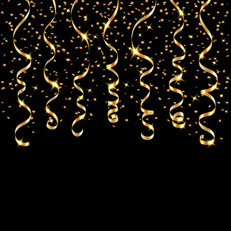 Gold ribbon confetti. Golden serpentine on black background. Colorful streamers. Design decoration party, birthday, Christmas, New Year celebration, anniversary, carnival Vector illustration