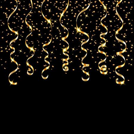 Gouden lint confetti. Golden serpentine op een zwarte achtergrond. Kleurrijke streamers. Ontwerp decoratie partij, verjaardag, Kerstmis, Nieuwjaar te vieren, verjaardag, carnaval Vector illustratie