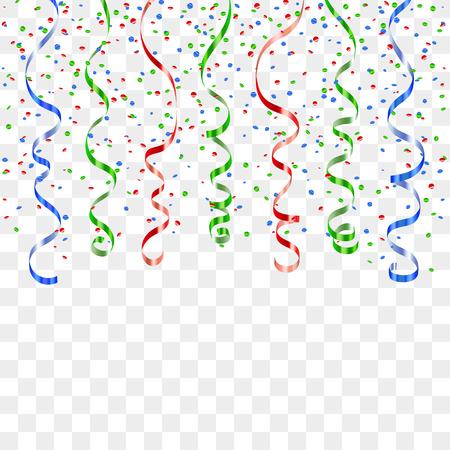 Rood, blauw, groen lint confetti. Serpentine op transparante achtergrond. Kleurrijke streamers. Ontwerp decoratie partij, verjaardag, Kerstmis, Nieuwjaar te vieren, verjaardag Vector illustratie