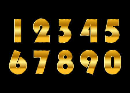Gold 3d metallic numbers set. Golden metal texture font, isolated on black background. Luxury type symbols. Elegant typography graphic. Bright royal style typeset decoration. Vector illustration