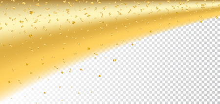 Gold confetti on white Christmas transparent background. Golden sparkle, glitter. Abstract design Happy New Year card, greeting, holiday celebrate. Shine trail tail magic comet Vector illustration Illustration