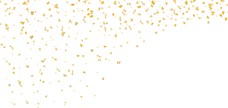 Gold bright confetti on white Christmas background. Golden decoration glitter abstract design of Happy New Year card, greeting, Xmas holiday celebrate banner. Space effect. Vector illustration