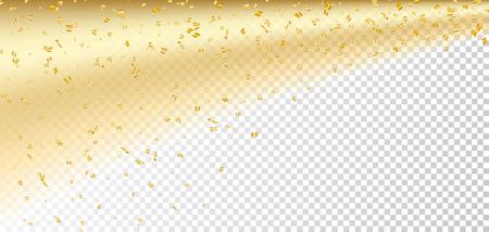 Confetti oro su sfondo bianco trasparente Natale. scintilla d'oro, scintillio polvere. Abstract design carta Felice Anno Nuovo, saluto, festa festeggiare. Brillare percorso coda della cometa illustrazione vettoriale Archivio Fotografico - 67925558