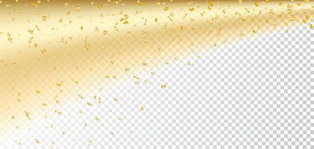 Gold confetti on white transparent Christmas background. Golden sparkle, glitter dust. Abstract design Happy New Year card, greeting, holiday celebrate. Shine trail tail comet Vector illustration