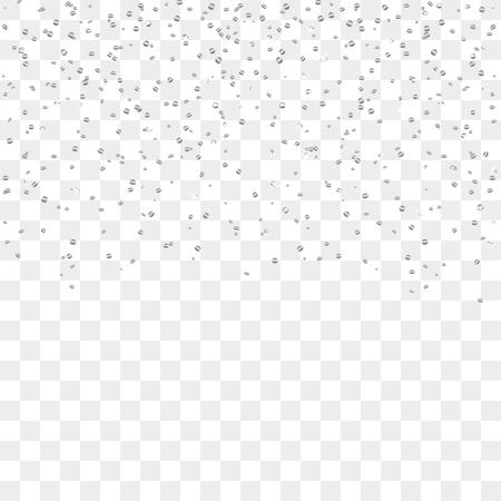 Zilveren confetti, geïsoleerd op een transparante achtergrond. Falling abstracte decoratie voor partij, verjaardag, jubileum of Kerstmis, Nieuwjaar. Festival decor. vector illustratie