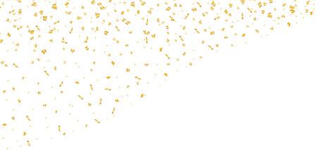 ホワイト クリスマスの背景にゴールドの明るい紙吹雪。新年カード、グリーティング、クリスマスの休日の金装飾キラキラ抽象的なデザインを祝う  イラスト・ベクター素材