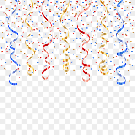 Gold blue red curly ribbon confetti. Golden serpentine on transparent background. Colorful streamers. Decoration party, birthday, Christmas, New Year celebration, anniversary Vector illustration