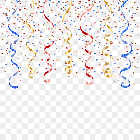Or bleu rouge bouclés ruban confettis. serpentine d'or sur fond transparent. banderoles colorées. Décoration fête, anniversaire, Noël, Nouvel An célébration, anniversaire Vector illustration