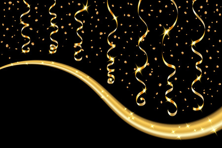 serpentines: Gold curly ribbon confetti. Golden serpentine on black background. Colorful streamers. Design decoration party, birthday, Christmas, New Year celebration, anniversary, carnival Vector illustration