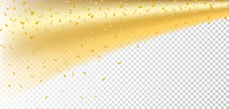 Gold confetti on white Christmas transparent background. Golden sparkle, glitter dust. Abstract design Happy New Year card, greeting, holiday celebrate. Shine trail tail comet Vector illustration