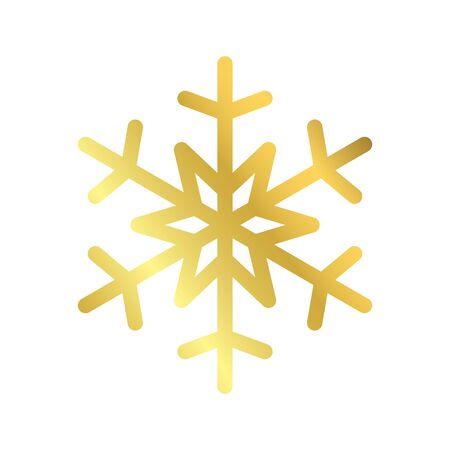 Gold Christmas snowflake icon. Golden silhouette snow flake sign isolated on white background. Elegant design for card, decoration. Symbol winter, New Year holiday celebration Vector illustration