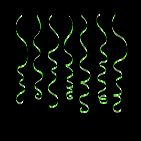 Curly ribbon serpentine confetti. Green streamers set on black background. Colorful design decoration for party, holiday event, carnival, Christmas, New Year greeting. Vector illustration Illustration