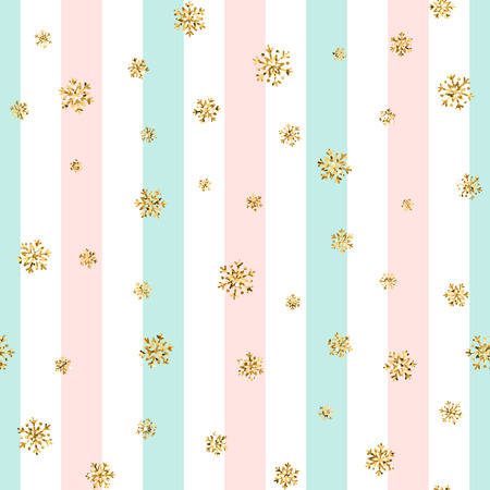 Christmas gold snowflake seamless pattern. Golden glitter snowflakes on blue pink white line background. Winter snow texture design wallpaper Symbol holiday New Year celebration Vector illustration