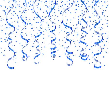 Blauw lint confetti. Kleur serpentine op een witte achtergrond. Kleurrijke streamers. Ontwerp decoratie partij, verjaardag, Kerstmis, Nieuwjaar te vieren, verjaardag, carnaval Vector illustratie Stock Illustratie