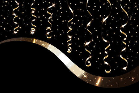streamers: Gold curly ribbon confetti. Golden serpentine on black background. Colorful streamers. Decoration party, birthday, Christmas, New Year celebration, anniversary, carnival Vector illustration Illustration