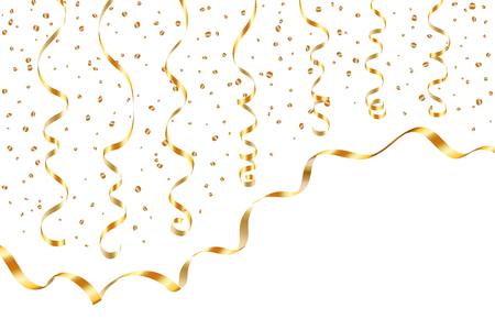 Gold curly ribbon confetti. Golden serpentine on white background. Colorful streamers. Design decoration party, birthday, Christmas, New Year celebration, anniversary, carnival Vector illustration 일러스트
